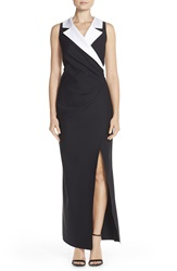 Alex Evenings Notched Collar Jersey Gown Black White