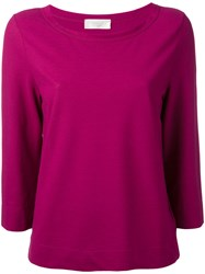 Zanone Boat Neck Sweater Women Cotton 42 Pink Purple