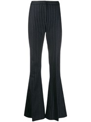 Alexander Mcqueen Pinstriped Flared Trousers 4046 Blue