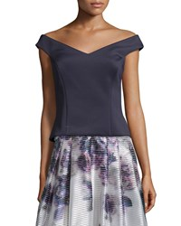 Kay Unger New York Off The Shoulder Structured Top Midnight Black