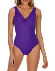 Miraclesuit Palisades Solid One Piece Swimsuit Violet Purple