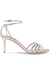 Aquazzura First Kiss Metallic Leather Sandals Silver