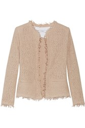 Iro Shavani Frayed Cotton Blend Boucle Jacket Pastel Pink