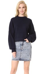 Tibi Pleated Sleeve Cropped Cashmere Pullover Midnight Navy