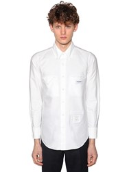 Thom Browne Straight Fit Cotton Oxford Shirt White