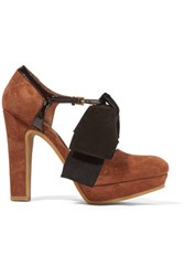 See By Chloe Bow Embellished Patent Leather Trimmed Suede Pumps Tan