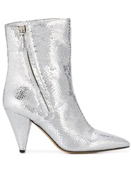 The Seller Metallic Snake Print Ankle Boots Silver
