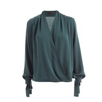 Wtr Empire Silk Wrap Blouse Imperial Green Neutrals