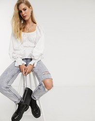 Bershka Ruched Detail Blouse In White