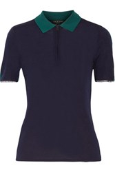 Rag And Bone Alice Two Tone Knitted Polo Shirt Midnight Blue