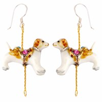 Hop Skip And Flutter Merry Go Round Porcelain Dog Drop Earrings Brown
