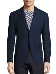 Salvatore Ferragamo Slim Fit Deconstructed Wool Blazer Navy