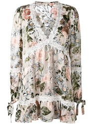 For Love And Lemons Longsleeved Floral Dress Women Silk Polyester Viscose S