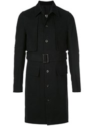 Rick Owens Belted Cotton Trench Coat Black
