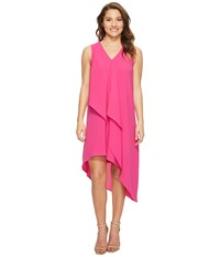 Adrianna Papell Petite Asymmetrical Front Drape Dress Hot Pink Women's Dress