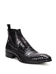 Jo Ghost Crocodile Leather Pull On Boots Black Grey