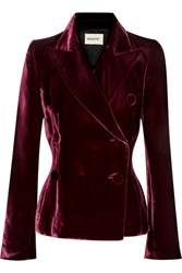 Khaite Cathy Double Breasted Velvet Blazer Merlot