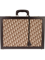 Christian Dior Vintage Monogram Embellished Briefcase Brown