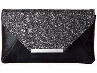 Jessica Mcclintock Riley Glitter Clutch Pewter Clutch Handbags