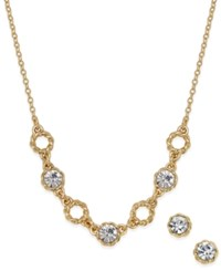 Charter Club Gold Tone Crystal Collar Necklace And Matching Crystal Stud Earrings Set Only At Macy's
