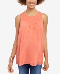 Wendy Bellissimo Maternity Embroidered Tank Top Spiced Coral