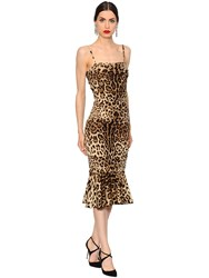 Dolce And Gabbana Leopard Ruched Stretch Silk Cady Dress