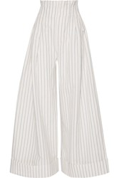 Jacquemus Striped Cotton And Linen Blend Wide Leg Pants Off White