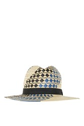 Topshop Patterned Straw Fedora Hat Blue