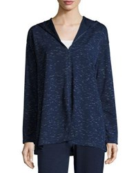 Max Studio Space Dye Pullover Sweater Navy Ivory