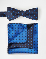 Selected Bow Tie And Pocket Square Set Blue