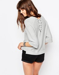 Only Bell Sleeve Jumper With Criss Cross Back Light Grey Melange