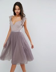 Needle And Thread Swan Tulle Midi Dress With Frill Sleeve Lavender Purple