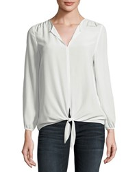 Joie Avrom Tie Front Silk Blouse White