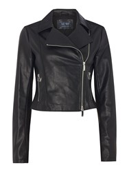 Armani Jeans Reptile Printed Ecoleather Jacket Black