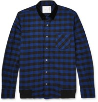 Sacai Velvet Trimmed Buffalo Checked Cotton Overshirt Navy