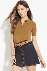 Forever 21 Contemporary Textured Knit Polo Olive