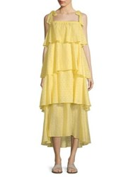Mds Stripes Tiered Ruffle Cami Dress Yellow