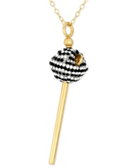 Sis By Simone I Smith 18K Gold Over Sterling Silver Necklace Black And White Crystal Mini Lollipop Pendant