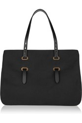 Tomas Maier Leather Trimmed Canvas Tote Black