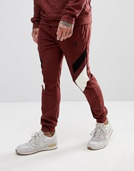 Religion Tapered Fit Jogger In Suedette With Contrast Panels Red