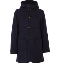 Oliver Spencer Melford Wool Blend Duffle Coat Navy
