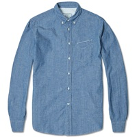 Officine Generale Button Down Japanese Selvedge Chambray Shirt Blue
