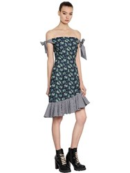 House Of Holland Crepe And Gingham Off The Shoulder Dress