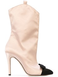 Alessandra Rich Bow Front Boots Pink