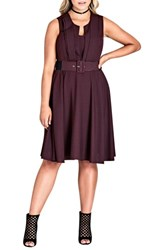 City Chic Plus Size Women's Vintage Veronica Belted Pleat Fit And Flare Dress Oxblood