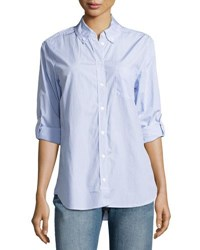 Equipment Margaux Cotton Pinstriped Shirt Blue Pattern