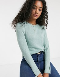 Jdy Cut And Sew Crew Neck Jumper In Green