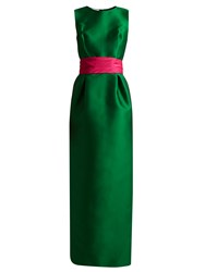 Oscar De La Renta Bi Colour Satin Column Gown Green Multi