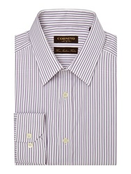 Corsivo Walter Stripe Tailored Fit Long Sleeve Classic Co Purple