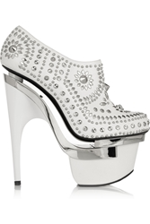 Versace Studded Leather Ankle Boots White